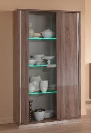 victor oak effect two door display cabinet