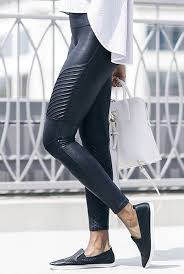 extra comfort extra stylish faux leather moto leggings by spanx
