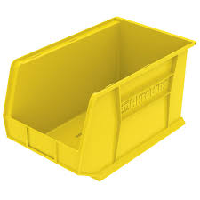 akro mils akrobin 11 in 60 lbs storage tote bin in yellow with