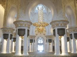 interior view of the sheikh zayed mosque including the world s third largest chandelier at center