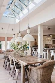 industrial style dining room lighting. Awesome Style Dining Rooms Design Of Skylights With Three Hanging Lamps Wooden Table Stainlees Steel Chairs White Wall Ceramic Floor Industrial Room Lighting A