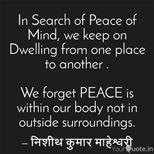 Image result for in search of peace of mind