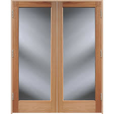 reliabilt brown solid core clear glass wood oak french door common 48 in