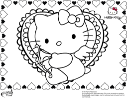 Small Picture Hello Kitty Valentines Coloring Pages GetColoringPagescom