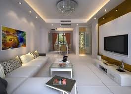 Ceiling Wall Lamps Beige Living Room Interior Design 3D  Interior Living Room Ceiling Interior Design Photos
