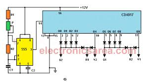 electronic two way traffic light circuit 555 timer and cd4017 electronic two way traffic light circuit