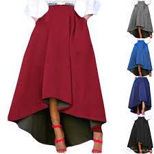 High Low Skirt Pattern Simple Women Maxi A Line HighLow Skirt Vintage Long Puffy Pockets Prom
