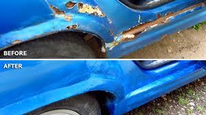 car repair diy rust holes filler sanding primer spray paint lacquer you