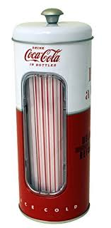 coca cola collectible tin straw holder with 50 straws style 2