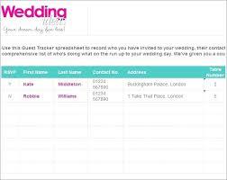 Wedding Guest List Template Excel Download Wedding Guest List Template 6 Free Sample Example Format