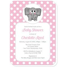 Polka Dot Invitations Cute Elephant Pink Polka Dot Baby Shower Invitations