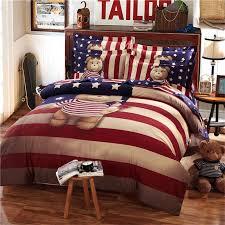 teddy bear bedding set kids king size queen twin cartoon quilt doona duvet cover western 100 cotton bed sheets bedspreads striped linen