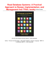 Database Systems Design Implementation And Management 6th Edition Pdf Read Database Systems A Practical Approach To Design