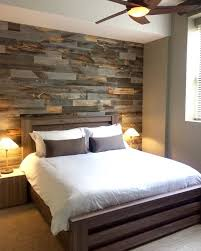contemporary farmhouse bedroom with faux pallet wall is made from thin pieces of actual wood