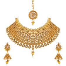 Necklace Design Picture Apara Gold Plated Kundan Jalebi Design Traditional Semi Bridal Choker Necklace Earring Maang Tikka Jewellery Set