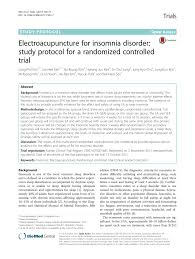 electroacupuncture for insomnia disorder study protocol for a  electroacupuncture for insomnia disorder study protocol for a randomized controlled trial pdf available