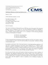 St Joseph S Hosp Health Center Letter From Cms Medicare United