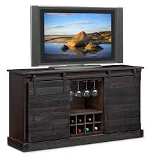 Ashcroft Media Credenza with Wine Storage Charcoal