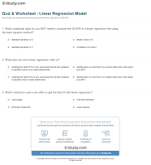 print linear regression model definition equation example worksheet