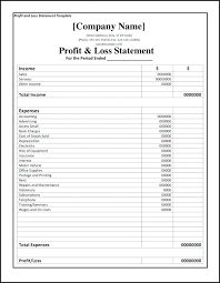 Profit Loss Statement For Self Employed Simple Profit Loss Statement Template Excel And Templates