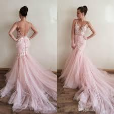 pink wedding gowns. Sexy Blush Pink Mermaid Wedding Dresses V Neck Sleeveless Backless