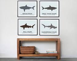 shark decor set of four shark prints beach decor prints for kids room shark wall art toddler room decor megalodon great white shark on wall art childs room with toddler room art etsy
