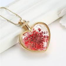 heart dry flower necklace glass bottle pendant necklace