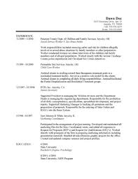 Social Work Resume Example Worker Samples Free With No Experience