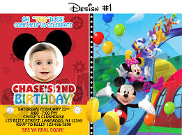 Mickey Mouse Clubhouse 2nd Birthday Invitations Mickey Mouse Clubhouse Birthday Party Photo Invitations Printable