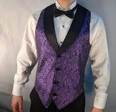 Light Purple Tuxedo Vest Mens Purple Metallic Tuxedo Vest With Black Lapel And Black Bow Tie Set