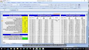 excel retirement spreadsheet excel retirement spreadsheet calculation youtube