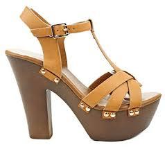 topmoda oak camel t strap leatherette buckle faux wooden heel fort platform dress sandals