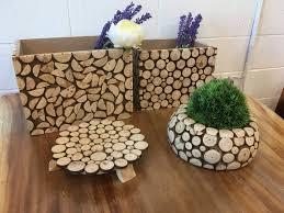 artistic wood pieces design. Artistic Wooden Garden Box (4 Pieces) Decoration, Indoor Circle Chip Gardening Pot, Rustic Wood Stand, Pieces Design E