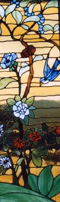 chinese garden stained glass panel