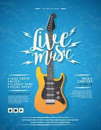 Concert Poster Design Concert Poster Design With Guitar Vector Illustration