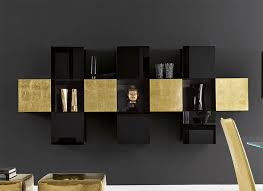 unico contemporary high gloss gold and black wall storage unit thumbnail