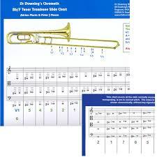Bb F Tenor Trombone Treble Clef Key Signature Slide Chart