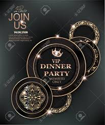 Dinner Invation Dinner Party Elegant Invitation Card With Deco Floral Elements