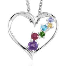 amethyst multi gemstone sterling silver heart pendant with stainless steel magnetic clasp chain 20 in 0 67 ctw lc