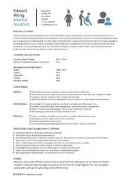 Resume Template Examples Student entry level Medical Assistant resume template