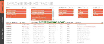 Employee Training Tracking Template Access Employee Training Tracker Template Excel