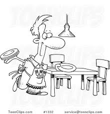 dinner table clipart black and white. cartoon black and white outline design of a happy stay at home dad setting the dinner table #1332 by ron leishman clipart u