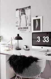 pink black white office black. Black And White Decorating, Wooden Furniture Bright Accents In Pink Color, Small Home Office Design Minimalist Style