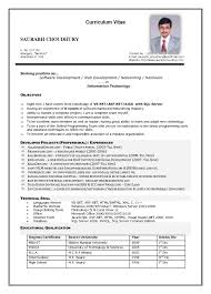 Curriculum Vitae Sample Format Gorgeous Curriculum Vitae Sample Information Technology New Mbbs Doctor Cv