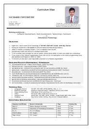 Curriculum Vitae Sample Format Gorgeous Curriculum Vitae Sample Information Technology New Mbbs Doctor Cv