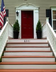 Painted Wood Stairs House Number On Wooden Front Steps Done With Rustoleum Restore
