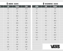 Vans Shoe Size Chart Unique Printable Women Shoe Size Chart