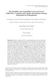 PDF) The Feasibility and Acceptability to Service Users of CIRCuiTS, a  Computerized Cognitive Remediation Therapy Programme for Schizophrenia