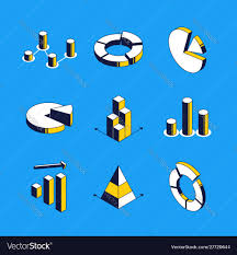 Charts And Diagrams Isometric Icons Set