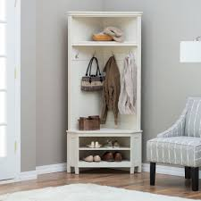 Amish Coat Rack White Entryway Corner Hall Tree Coat Rack Indoor Home Furniture 80